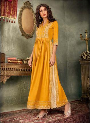 Exquisite Yellow Color Cotton Base Printed Palazzo Salwar Kameez