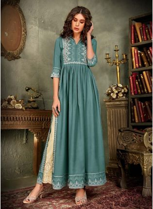 Cotton Fabric Turquoise Color Printed Straight Palazzo Salwar Suit