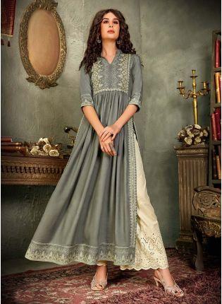 Dashing Cotton Base Grey Color Resham Work Printed Palazzo Salwar Suit