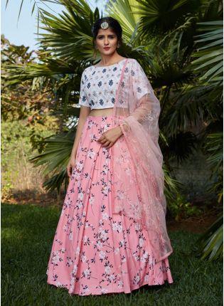 Dramatic Pink Color Flared Lehenga Choli