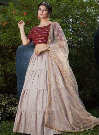 Beige Color Cotton Base Sequins Work Lehenga Choli