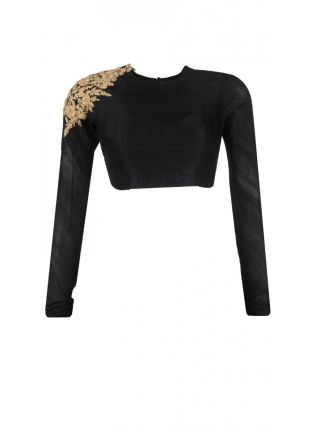 Trendy Backless Black Color Embroidered Blouse