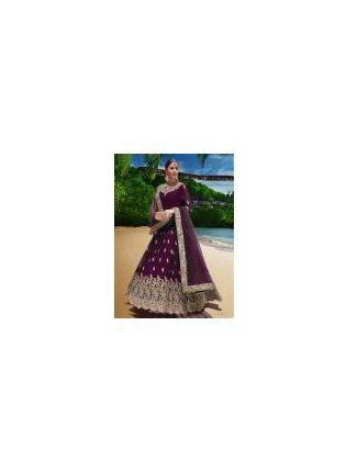 Glamorous Look Purple Color Georgette Base Wedding Wear Gown