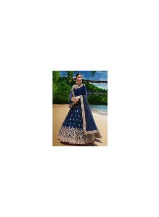 Elegant Look Navy Blue Color Georgette Base Designer Gown