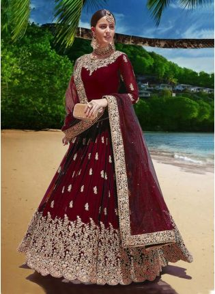 Attractive Red Color Heavy Work Designer Gown