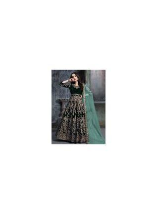 Elegant Velvet Base Dark Green Color Zari Work 3/4th Sleeves Gown