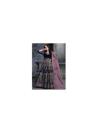 Enthralling Navy Blue Color Velvet Fabric Sequins Work Designer Gown