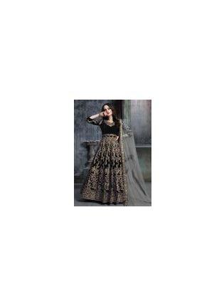 Engrossing Black Color Velvet Base Sequins Work Designer Gown