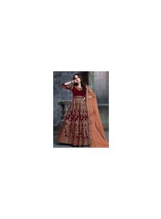Exquisite Velvet Fabric Red Color Zari And Sequins Work Designer Gown