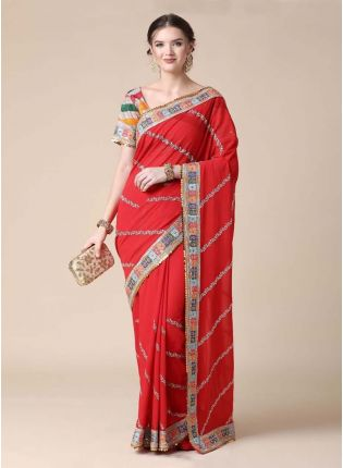 Red Color Georgette Fabric Sequins And Dori Work Embroidered Saree