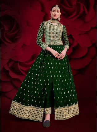 Green Color Georgette Fabric Mirror And Stone Work Anarkali Suit
