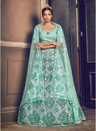 Alluring Turquoise Blue Color Soft Net Fabric Sequined Work Lehenga Choli