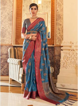 glamorous blue colored silk weave traditional saree