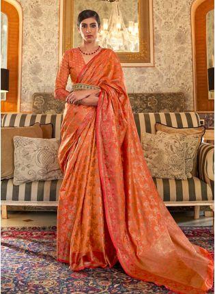 Organic orange color silk weave traditional saree
