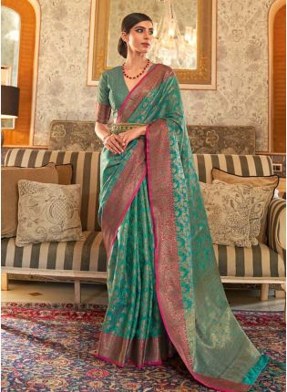 Gorgeous green color silk weave traditional saree