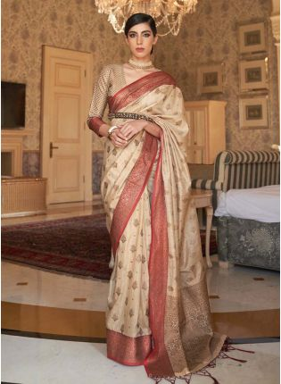 Charming cream color silk weave traditional saree