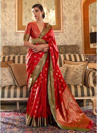 Rich look red color silk weave traditional saree