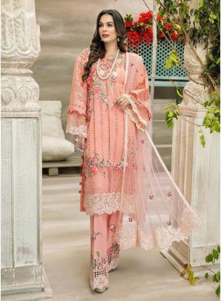 Peach Color Georgette Base Stone And Dori Work Pakistani Palazzo Salwar Suit