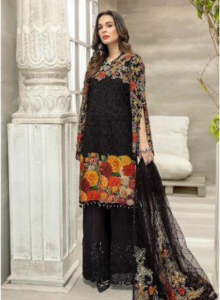 Resham And Stone Work Georgette Fabric Black Color Pakistani Palazzo Suit