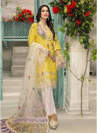 Yellow Color Georgette Base Resham And Dori Work Pakistani Palazzo Suit