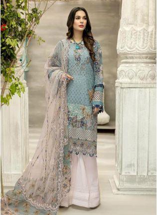 Georgette Base Turquoise Color Dori And Resham Work Pakistani Suit