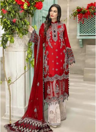 Red Color Georgette Base Stone And Dori Work Pakistani Palazzo Suit