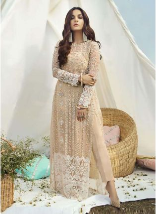 Enthralling Full Sleeves Burly Wood Brown Color Soft Net Base Pant Style Suit