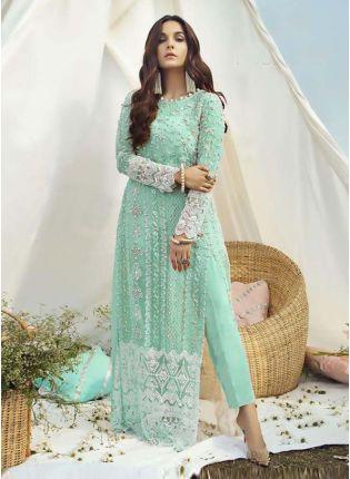 Soft Net Fabric Dori Work Aquamarine Green Color Pakistani Pant style suit