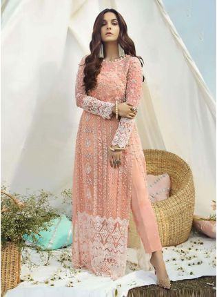 Full Sleeves Peach color Soft Net Base Stone Work Pant Style Salwar Suit