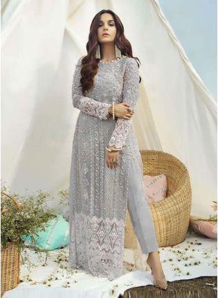 Jewel Neckline Grey Color Soft Net Fabric Dori Work Pant Style Salwar Suit