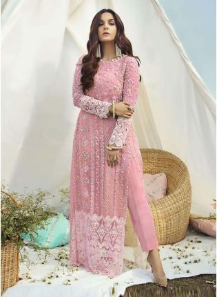 Pink Color Soft Net Base Full Sleeves Stone Work Pakistani Pant Style Suit