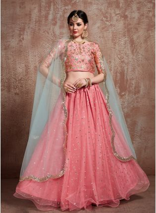 Splendid Glossy Pink Color Soft Net Base Sequins Lehenga Choli For Party