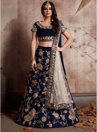 Iconic Midnight Blue Machine Embroidery Lehenga Choli With Sequins Embellished