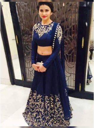 Purchase Navy Blue Color Party Wear Designer Lehenga Choli