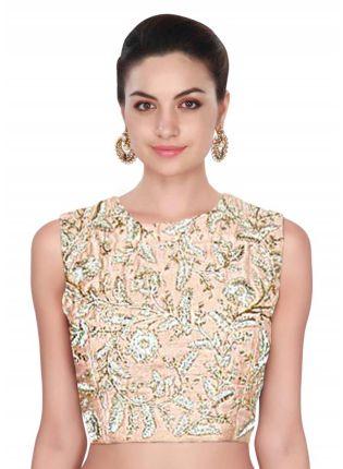 Best Peach Raw Silk Dori Work Designer Blouse