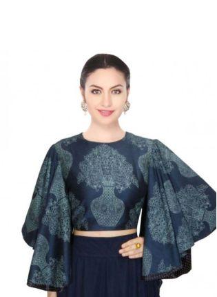 Stylish Kimono Sleeve Navy Blue Digital Printed Blouse