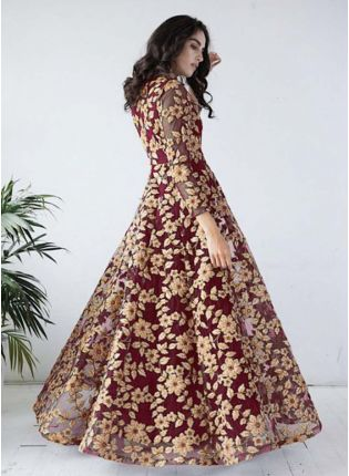 Top Maroon-Gold Ribbon work flared gown