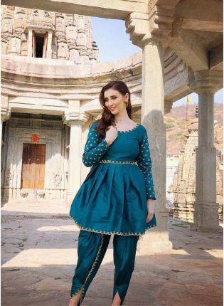 Buy Stylish Rama Green Color Party Wear Dhoti Suit