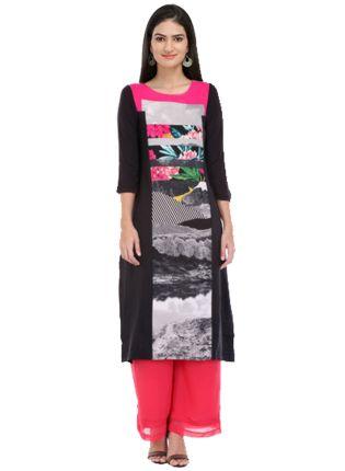 Splendid Black And Pink Colored Digital Printed Long Kurta