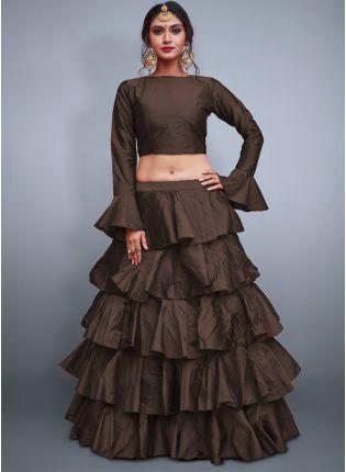 Splendid Chocolaty Brown Taffeta Silk Base Ruffle Lehenga Skirt With Crop Top