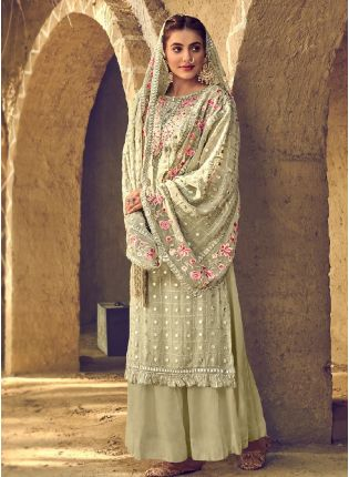 Graceful Green Color With Palazzo Style Salwar Kameez