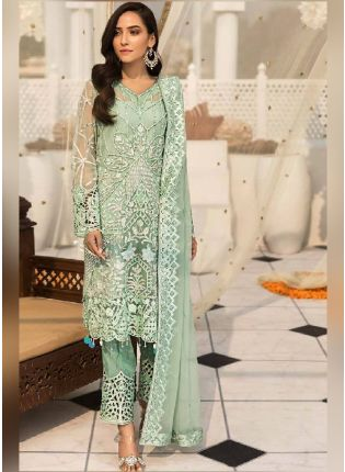 Striking Green Color Pakistani Style Suit With Butterfly Net Base
