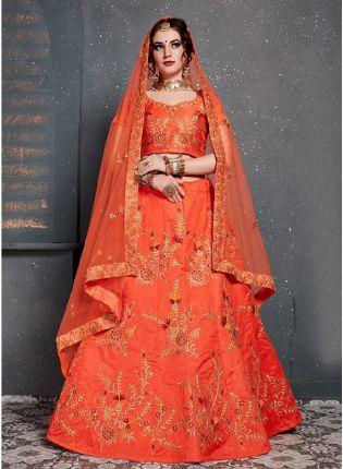 Dainty Orange Color With Slub Silk Lehenga choli