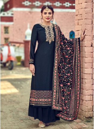 Delightful Navy Blue Color With Embroidery Work With Palazzo Suit