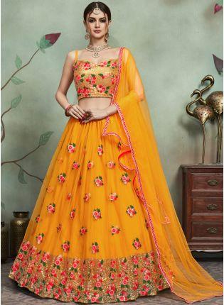 Trendy Delightful Yellow Color Soft Net Base Heavy Thread And Sequins Work Lehenga Choli