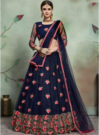 Shop Inspiring Navy Blue Color Soft Net Base Thread And Embroidery Work Lehenga Choli