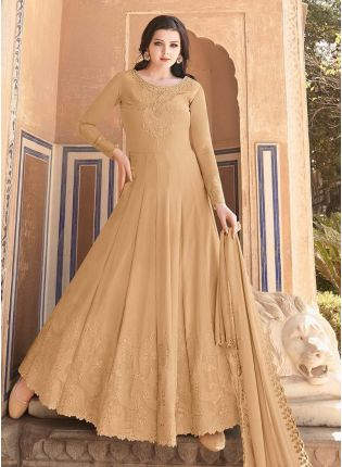 Burly Wood Brown Color Full Sleeves Georgette Base Stone Work Gown