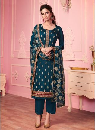 Peacock Blue Color Georgette Base Zari And Sequins Work Pant Style Salwar Suit