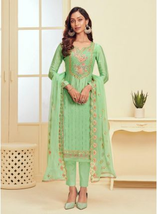 Light Green Color Resham Work Pant Style Salwar Suit With Dupatta