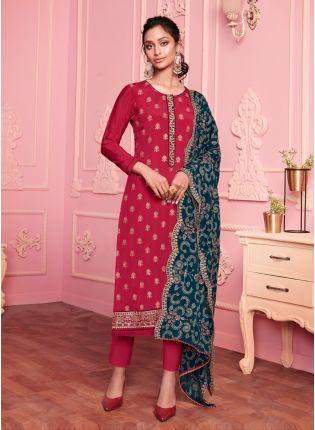 Rough Pink Color Georgette Base Wedding Wear Pant Style Suit With Designer Dupatta
